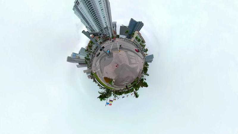 Tiny planet miniature hyperlapse Downtown Miami motion footage