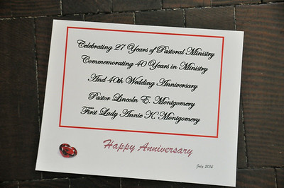 Pastoral & Wedding Anniversary July 26, 2014