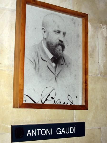 Portrait of Antoni Gaudí at the Sagrada Familia