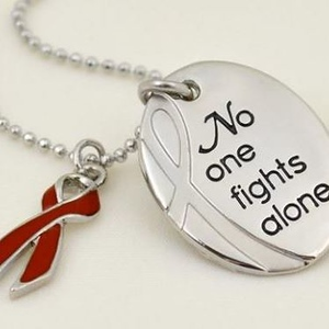 No One Fights Alone® Necklace with Burgundy Charm