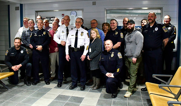 2/28/2019 Mike Orazzi | Staff A gathering for the retirement of Bristol Police Captain Thomas Calvello, Administrative Services Bureau, at police headquarters on Thursday.