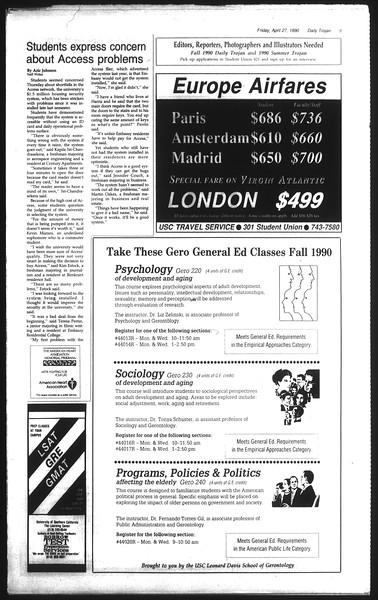 Daily Trojan, Vol. 111, No. 68, April 27, 1990
