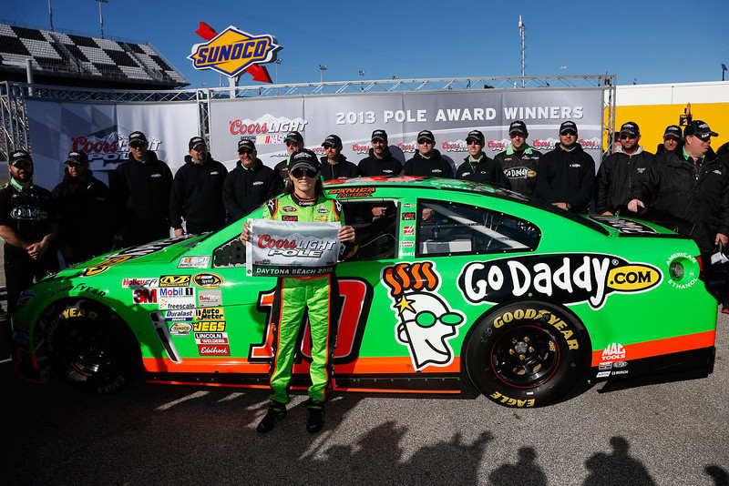 . Danica Patrick, driver of the #10 GoDaddy.com Chevrolet, poses with the Coors Light Pole Award after qualifying for the NASCAR Sprint Cup Series Daytona 500 at Daytona International Speedway on February 17, 2013 in Daytona Beach, Florida.  (Photo by Chris Graythen/Getty Images)