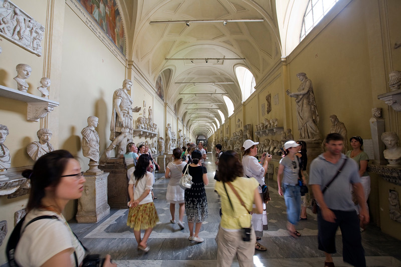 Tourists visiting the Chiaromonti collection, Vatican Museums