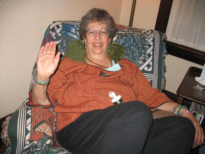Ellen rests after dinner
