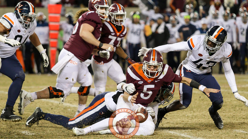 QB Ryan Willis fumbles the football while being tackled in the 4th quarter, the Hokies recovered. (Mark Umansky/TheKeyPlay.com)