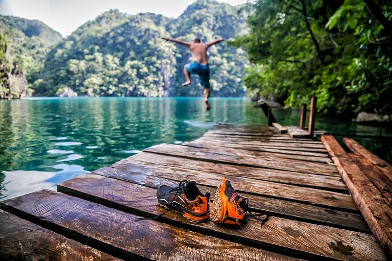 David Stock Jr jumping into Kayangan Lake