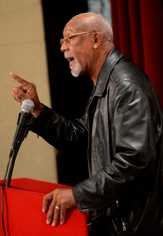 """. \""""The only way you can deal with violence is through knowledge\"""" said Olympian John Carlos as he spoke to students at San Bernardino High School February 27, 2013.  GABRIEL LUIS ACOSTA/STAFF PHOTOGRAPHER."""