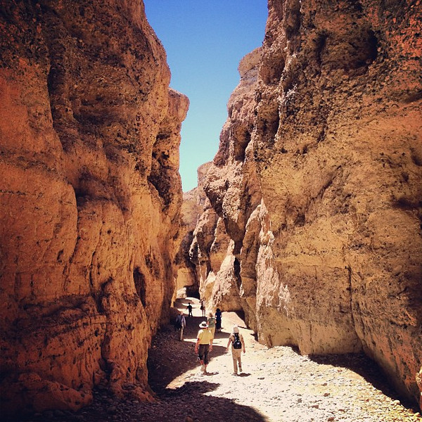 A mid-day peek inside Sesriem (six rope) Canyon, Namibia. Young yet, at only 2 million years old.