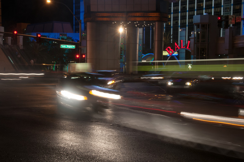Street scene at night in Las Vegas, Nevada