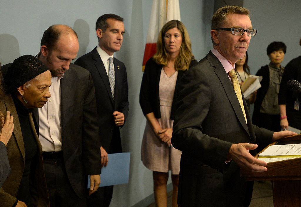 . LAUSD Superintendent John Deasy, flanked by LA Mayor Eric Garcetti and members of the School Board,  held a news conference to provide an update on the bus crash in Northern California at the LAUSD headquarters. Los Angeles, CA. 4/11/2014 (Photo by John McCoy / Los Angeles Daily News)