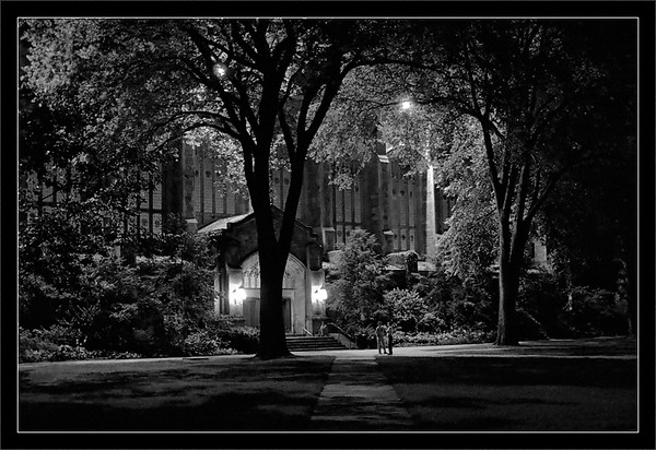 Quiet Night: Law Quad  Library windows and fixtures shed light on the Law Quad  University of Michigan, Ann Arbor  14-AUG-2007