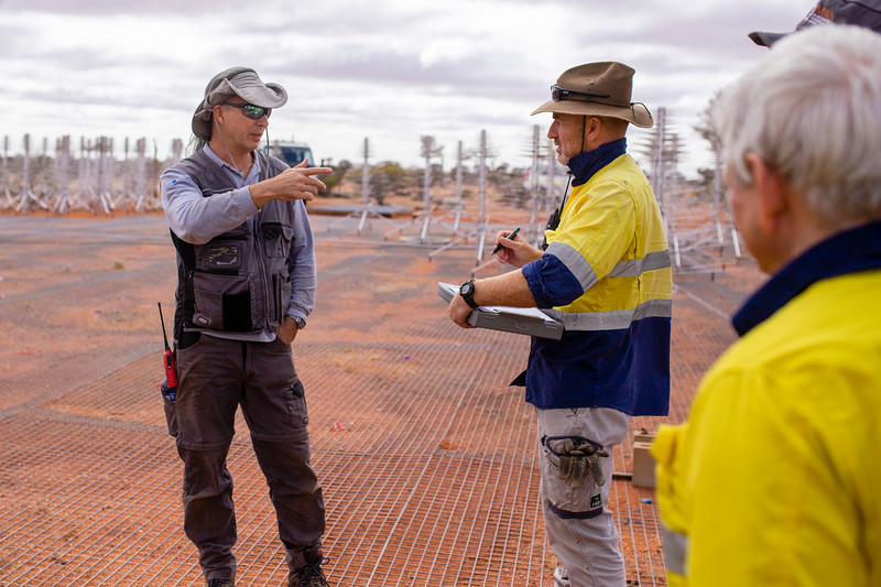 Installing INAF's SKALA 4.1 antennas on the Aperture Array Verification System station. Credit: ICRAR/Curtin