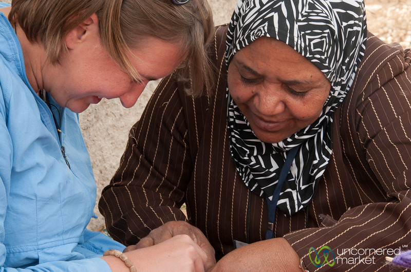 Audrey Learns to Make Hatta Tassels with Zikra Initiative in Jordan