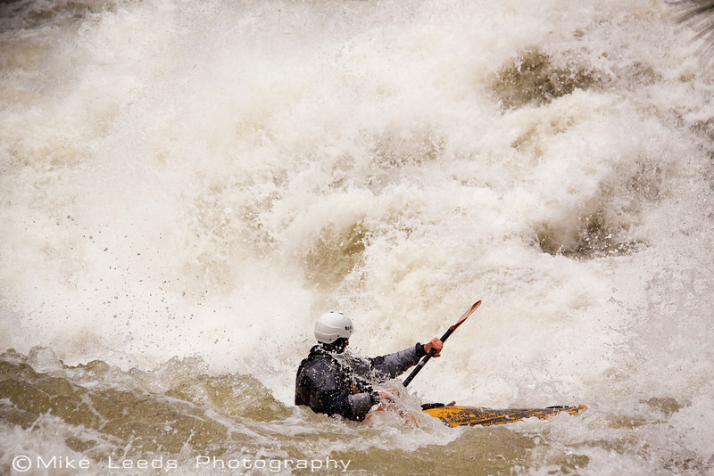 "Paddler Ryan Casey in ""Nutcracker"" on the North Fork Payette River at Flood, 8,000cfs+. Idaho."