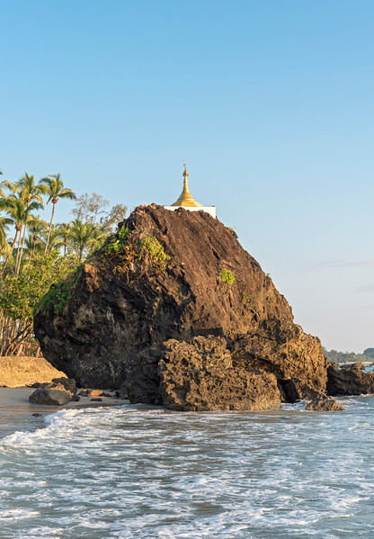 Golden stupa on the rock, Ngapali Beach
