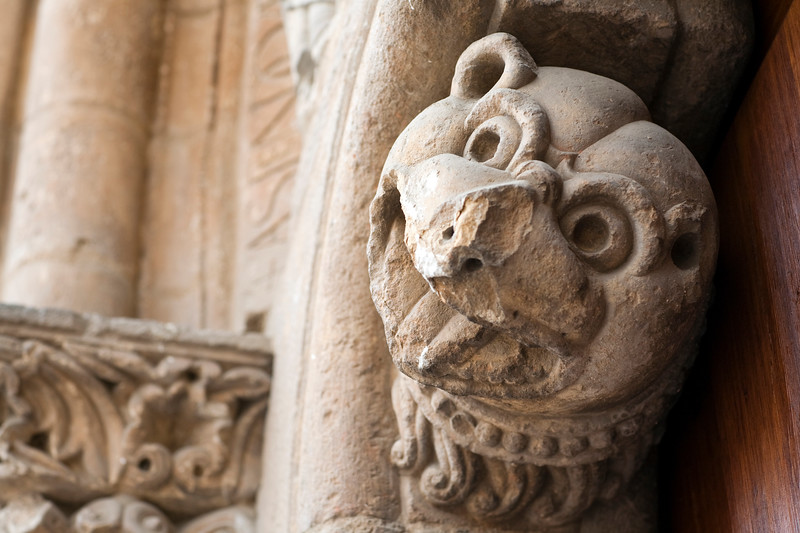 Romanesque carving of mythological animal head, San Isidoro basilica, town of Leon, autonomous community of Castilla y Leon, northern Spain