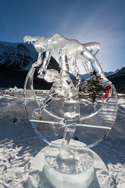 Ice Sculptures of figure skaters for the 2010 Winter Olympics in Canada are seen in Lake Louise in front of Fairmont Chateau Lake Louise