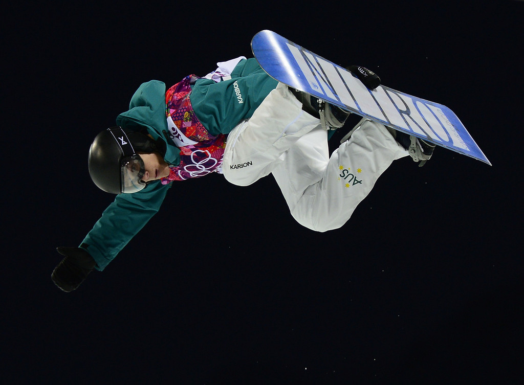 . Australia\'s Nathan Johnstone competes in the Men\'s Snowboard Halfpipe Semifinals at the Rosa Khutor Extreme Park during the Sochi Winter Olympics on February 11, 2014.         AFP PHOTO / JAVIER SORIANO/AFP/Getty Images