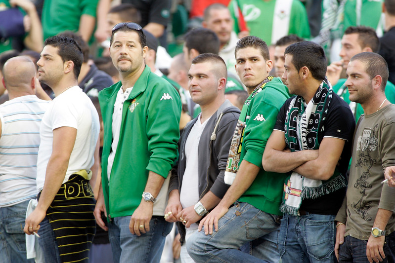 Real Betis fans. Taken before the local derby between Real Betis and Sevilla FC which took place at Ruiz de Lopera stadium, Seville, Spain, on 11 May 2008.