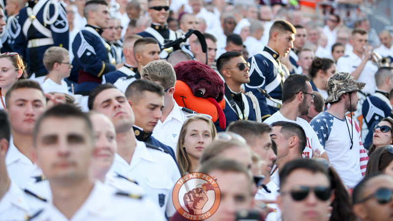 The Hokiebird makes his way through the Virginia Tech Corps of Cadets section in the South endzone. (Mark Umansky/TheKeyPlay.com)