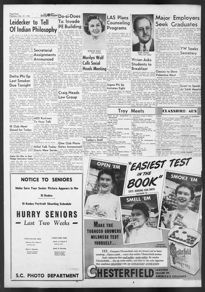 Daily Trojan, Vol. 42, No. 80, February 27, 1951
