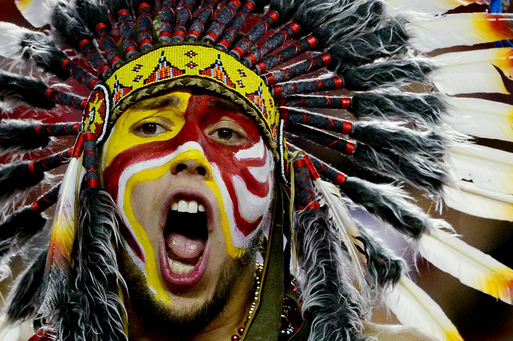 . A Kansas City Chiefs fan cheers his team on against the Denver Broncos during the second half of the Broncos\' 35-28 win at Arrowhead Stadium. The Denver Broncos visit the Kansas City Chiefs in an AFC West showdown. (Photo by AAron Ontiveroz/The Denver Post)