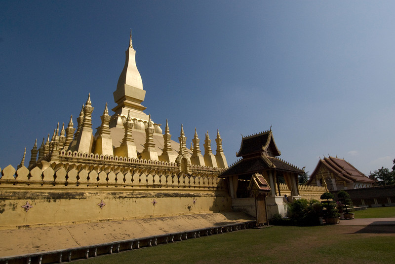 Stupas atop the Prathat Luang Temple in Vientiane, Laos