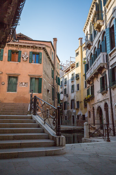 One of the 409 bridges over the 177 canals in Venice, this is a pretty typical, albeit quiet, section of the city.