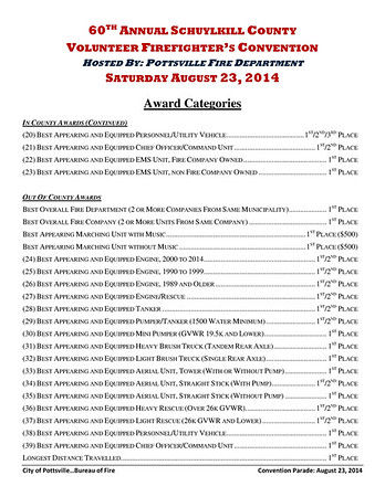 Convention Packet, 2014 Schuylkill County Volunteer Firefighter's Convention, Parade, Pottsville (8-28-2014)