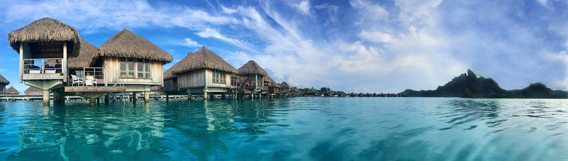 View from our daily afternoon dip...our bungalow on the left - St. Regis Resort - Bora Bora