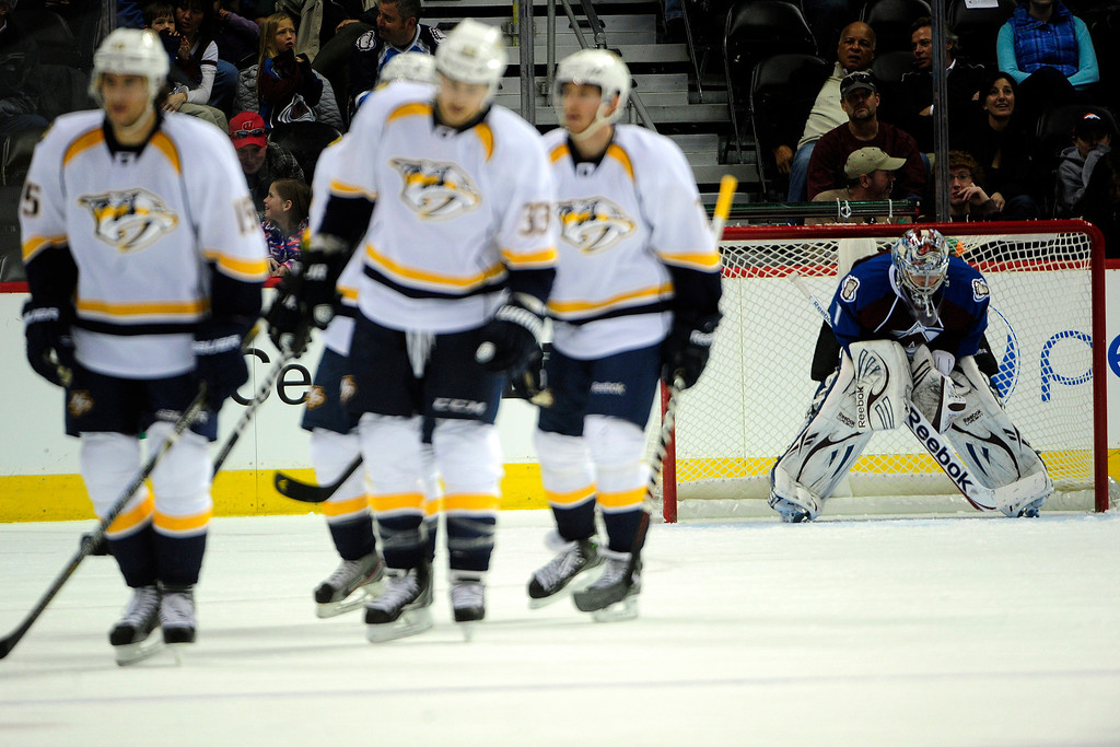 . Semyon Varlamov (1) of the Colorado Avalanche reacts to giving up a goal to Sergei Kostitsyn (74) of the Nashville Predators during the first period of action. The Colorado Avalanche take on the Nashville Predators at the Pepsi Center on February 18, 2013. (Photo By AAron Ontiveroz/The Denver Post)