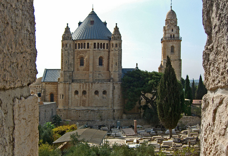 2-Dormition Abbey, Mount Zion. The site, outside the southern City Walls, was given to Kaiser Wilhelm II by the Turkish sultan in 1898. He presented it to the German Catholic Society of the Holy Land. The church was built (1901-10) over the site where the Virgin Mary is said to have fallen asleep for the last time.