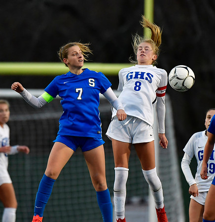 11/23/2019 Mike Orazzi | StaffrSouthington High Schools Emma Panarella (7) and Glastonbury's Chloe Landers (8) during the Class LL Girls State Soccer Tournament at Veterans Stadium in New Britain Saturday evening. Glastonbury won 1-0.