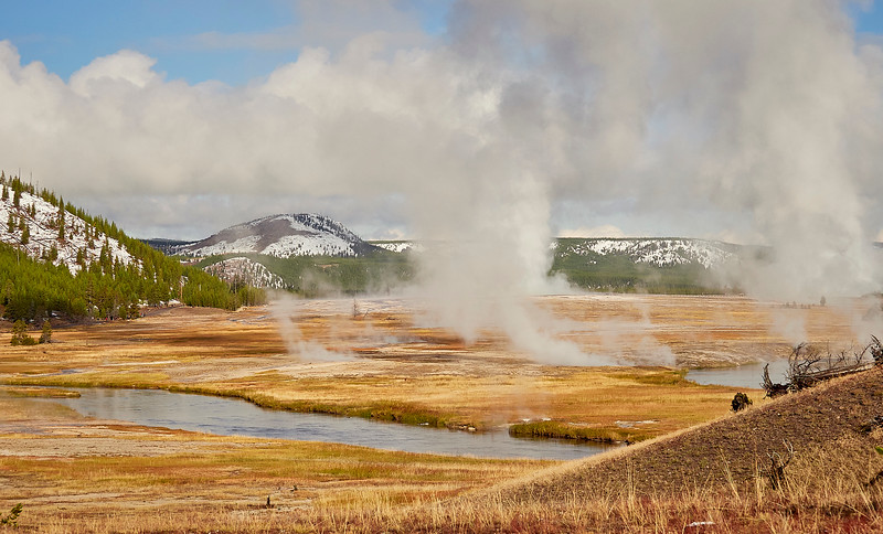 Geysers steaming on a frosty morning