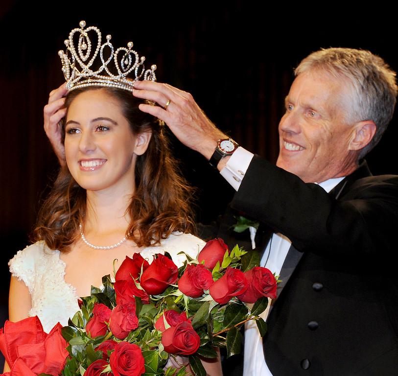 . Ana Marie Acosta, 17, who attends Polytechnic School  was name Tournament of Roses 96th Rose Queen. Rose Queen Ana Marie Acosta being crowned by  R Scott Jenkins, President, Pasadena Tournament of Roses. Coronation of the 96th Rose Queen and Presentation of the 2014 Royal Court held at First Church of the Nazarene of PasadenaThursday, October 24, 2013. (Photo by Walt Mancini/Pasadena Star-News)