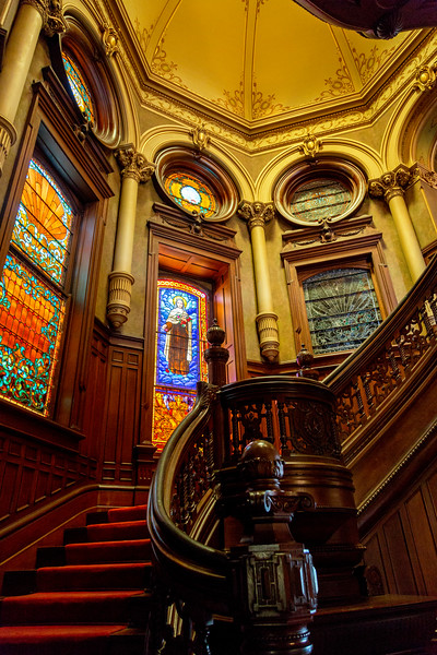 The main stairway in the Bishop's Mansion