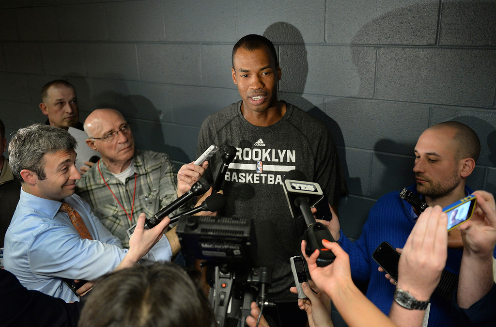 . DENVER, CO. - FEBRUARY 27, 2014: Brooklyn center Jason Collins talked to reporters before the game Thursday night, February 27, 2014. Collins made headlines when he came out as gay. Photo By Karl Gehring/The Denver Post