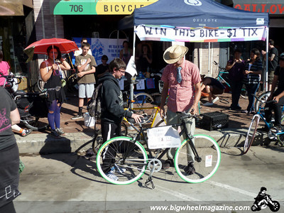 The winner of the bike from Bicycle Kitchen - CicLAvia 2011 - Los Angeles, CA - October 9, 2011