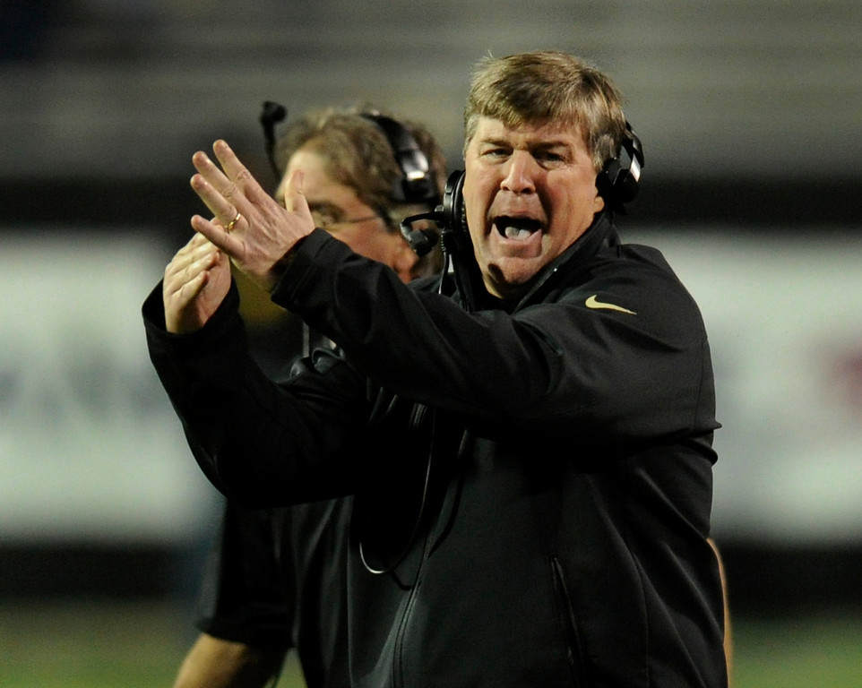 . BOULDER, CO. - OCTOBER 26: CU coach Mike MacIntyre called for a time out in the second half. The University of Colorado football team hosted Arizona Saturday night, October 26, 2013. Photo By Karl Gehring/The Denver Post