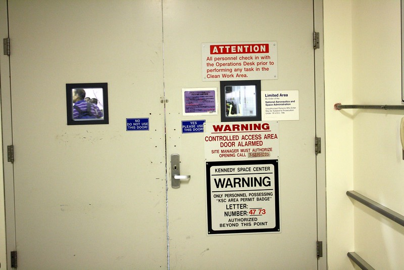 Entrance to the Flight Hardware Processing Area of the Space Station Processing Facility
