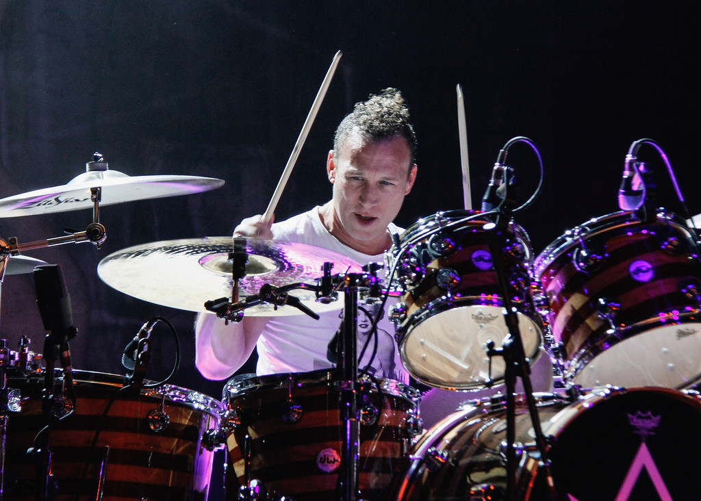 . WANTAGH, NY - AUGUST 18:  Stephen Perkins of Jane\'s Addiction performs during the 2013 Rockstar Energy UPROAR Festival at Nikon at Jones Beach Theater on August 18, 2013 in Wantagh, New York.  (Photo by Janette Pellegrini/Getty Images)