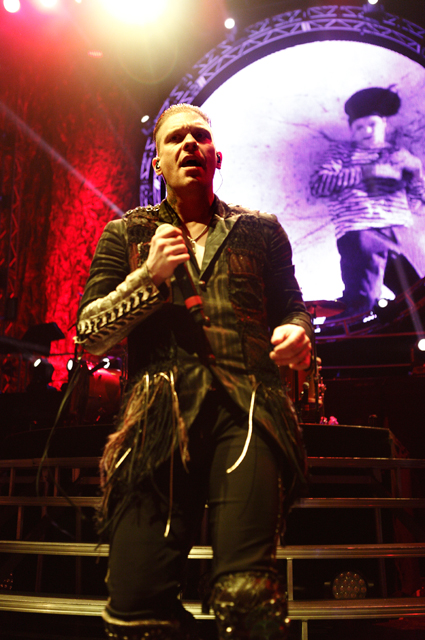 . Brent Smith of Shinedown performs in the Carnival of Madness tour at DTE Energy Music Theatre in Independence Twp., on Aug. 27, 2013. Photo by Ken Settle