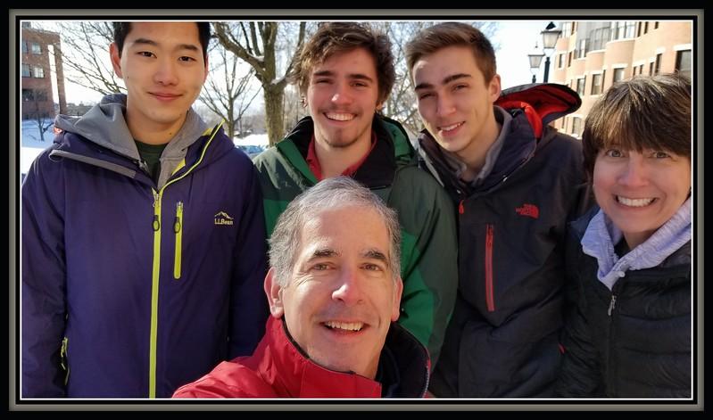 2018-01-14 UVM College Visit Burlington Winter Snow V(2) The Five Seasons Wyatt Dad Mom Raf Friend X