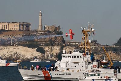 Tucker zooming past Alcatraz and the Coast Guard.