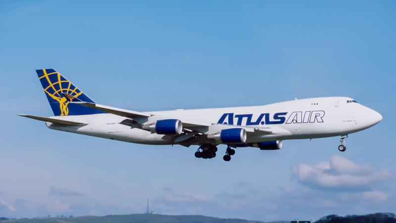 N492MC. Boeing 747-47UF/SCD. Atlas Air. Prestwick. April. 1999.
