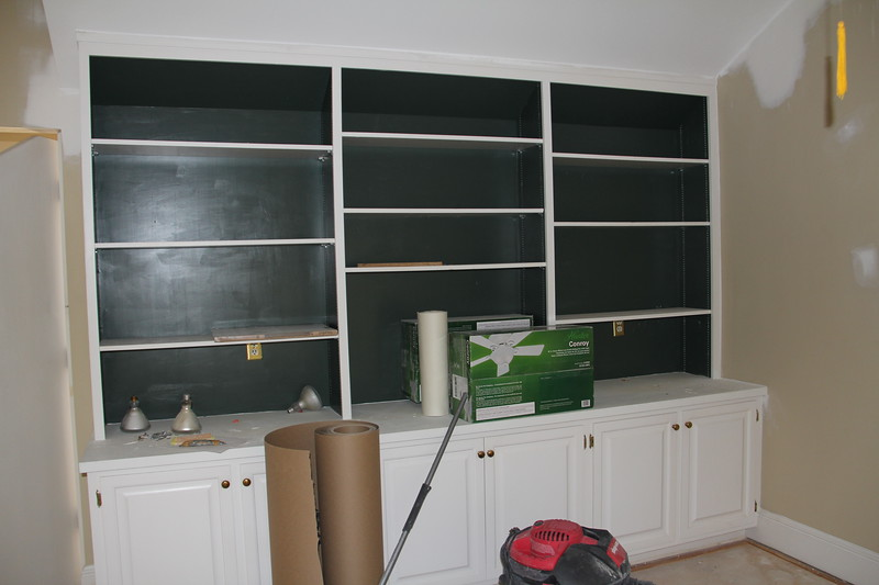 bookshelves in loft (will be repainted all white)