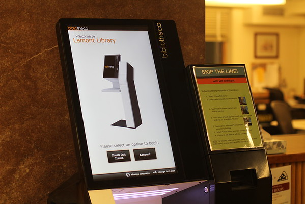 Lamont Library Book Self Checkout