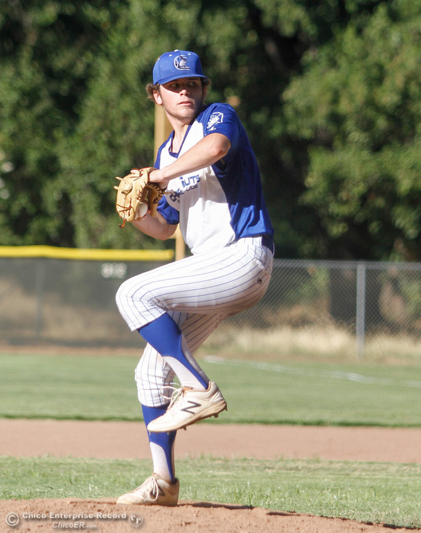 . Chico Nuts\' Frankie Cleary pitches against Oroville Post 95 in the last home games of the season Wednesday July 12, 2017 at Ron Doryland Field in Chico, California.  (Emily Bertolino -- Enterprise-Record)