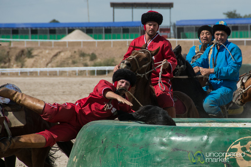 Goat + Player in the Goal During Kok-boru - World Nomad Games, Kyrgyzstan